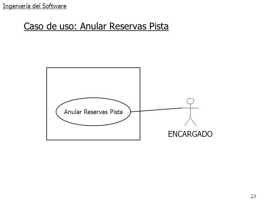 23 Ingeniería del Software Caso de uso: Anular Reservas Pista Anular Reservas Pista ENCARGADO