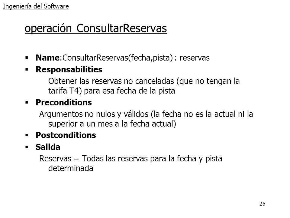 26 Ingeniería del Software operación ConsultarReservas Name:ConsultarReservas(fecha,pista) : reservas Responsabilities Obtener las reservas no cancela