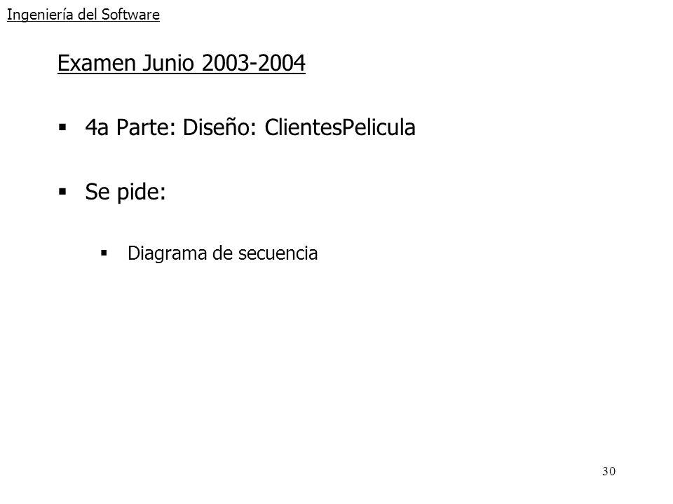 30 Ingeniería del Software Examen Junio 2003-2004 4a Parte: Diseño: ClientesPelicula Se pide: Diagrama de secuencia