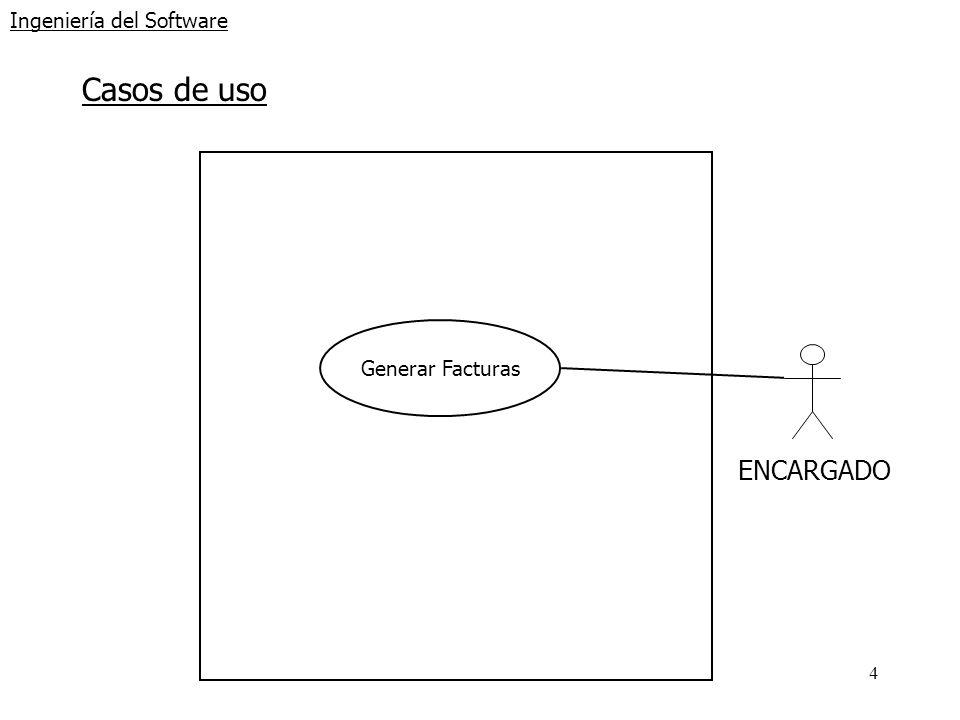 25 Ingeniería del Software Diagrama secuencia sistema: Anular Reservas Pista :Encargado :Sistema ConsultarReservas(fecha,pista) : reservas ConfirmarAnulación() : anular [anular] Reasignar(fecha,pista) : reasignadas [anular] Anular(fecha,pista) : anuladas
