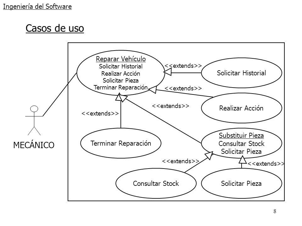 9 Ingeniería del Software Ejemplo: Caso de uso de alto nivel Caso de uso: Registrar Vehículo Actores:Cliente, Encargado Tipo:Secundario Descripción:El cliente trae un vehículo al taller.