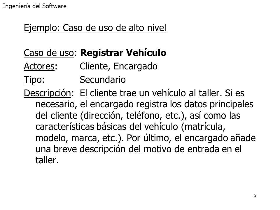 9 Ingeniería del Software Ejemplo: Caso de uso de alto nivel Caso de uso: Registrar Vehículo Actores:Cliente, Encargado Tipo:Secundario Descripción:El