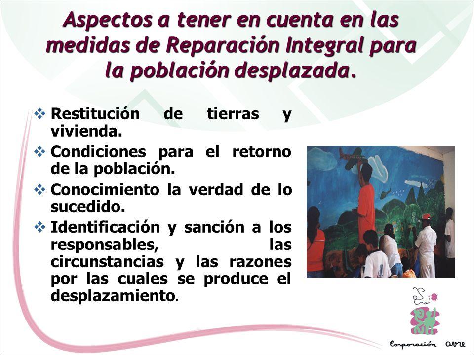 Aspectos a tener en cuenta en las medidas de Reparación Integral para la población desplazada. Restitución de tierras y vivienda. Condiciones para el