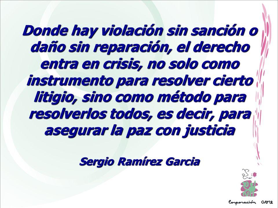 Donde hay violación sin sanción o daño sin reparación, el derecho entra en crisis, no solo como instrumento para resolver cierto litigio, sino como mé
