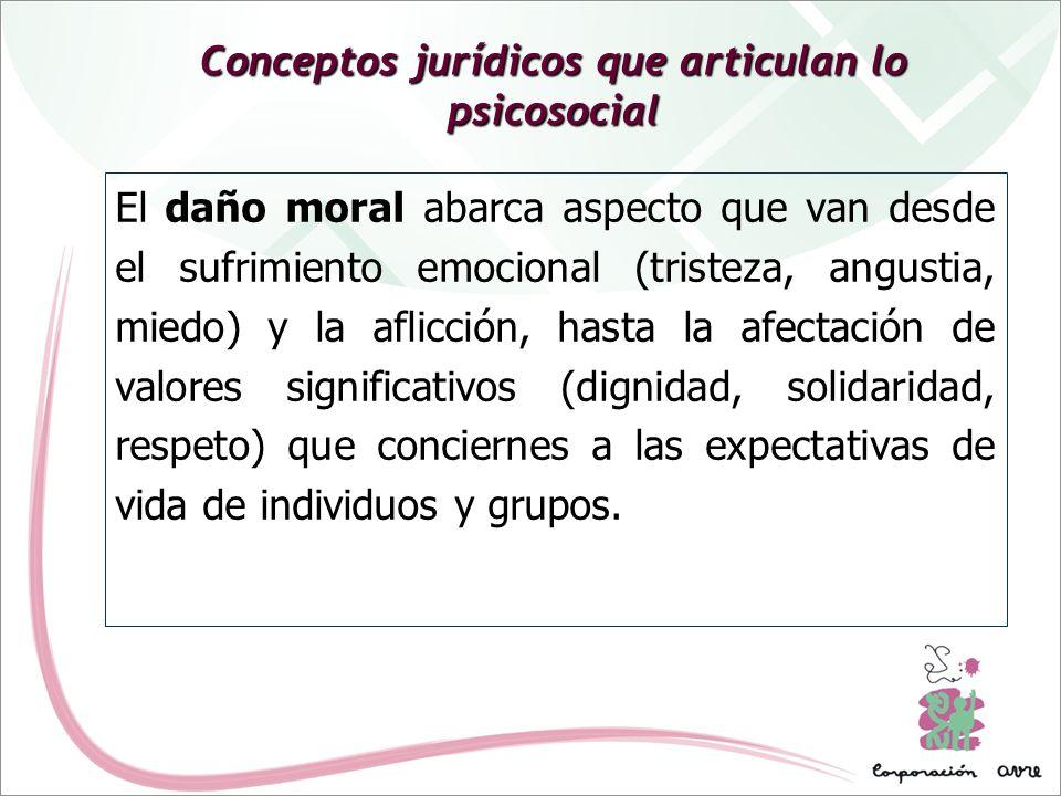 Conceptos jurídicos que articulan lo psicosocial El daño moral abarca aspecto que van desde el sufrimiento emocional (tristeza, angustia, miedo) y la