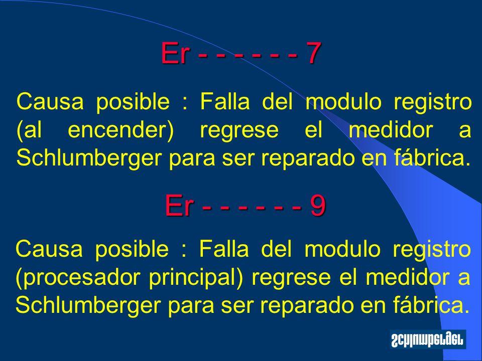 Er - - - - - - 7 Causa posible : Falla del modulo registro (al encender) regrese el medidor a Schlumberger para ser reparado en fábrica. Er - - - - -