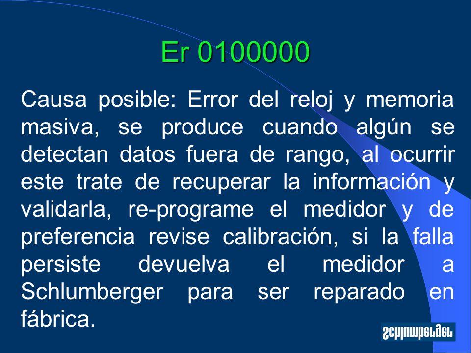 Er 0100000 Causa posible: Error del reloj y memoria masiva, se produce cuando algún se detectan datos fuera de rango, al ocurrir este trate de recuper