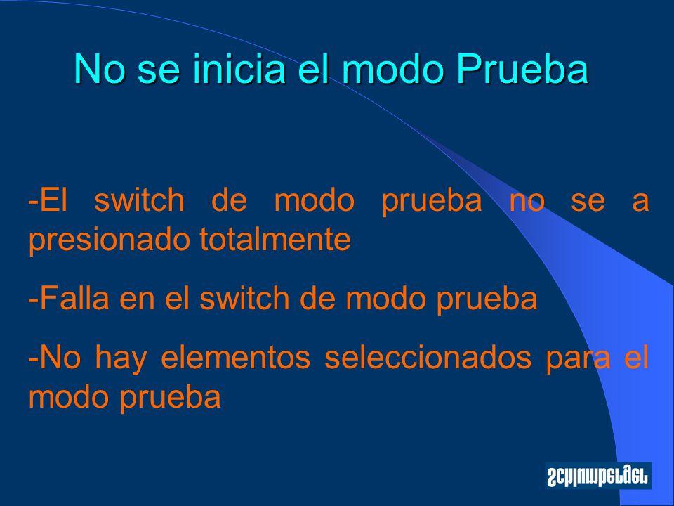No se inicia el modo Prueba -El switch de modo prueba no se a presionado totalmente -Falla en el switch de modo prueba -No hay elementos seleccionados para el modo prueba