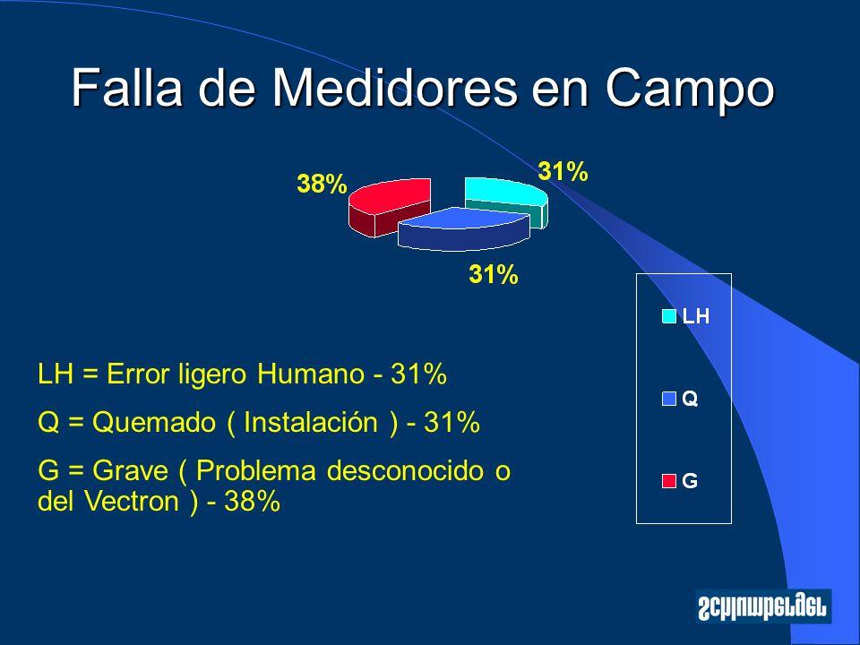 LH = Error ligero Humano - 31% Q = Quemado ( Instalación ) - 31% G = Grave ( Problema desconocido o del Vectron ) - 38%