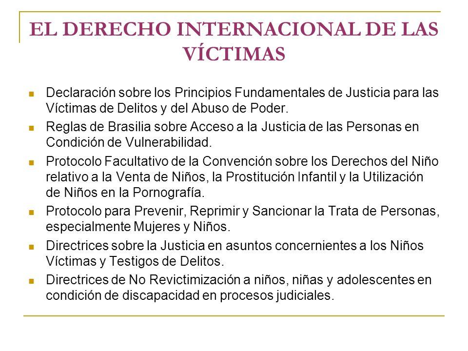 EL DERECHO INTERNACIONAL DE LAS VÍCTIMAS Declaración sobre los Principios Fundamentales de Justicia para las Víctimas de Delitos y del Abuso de Poder.