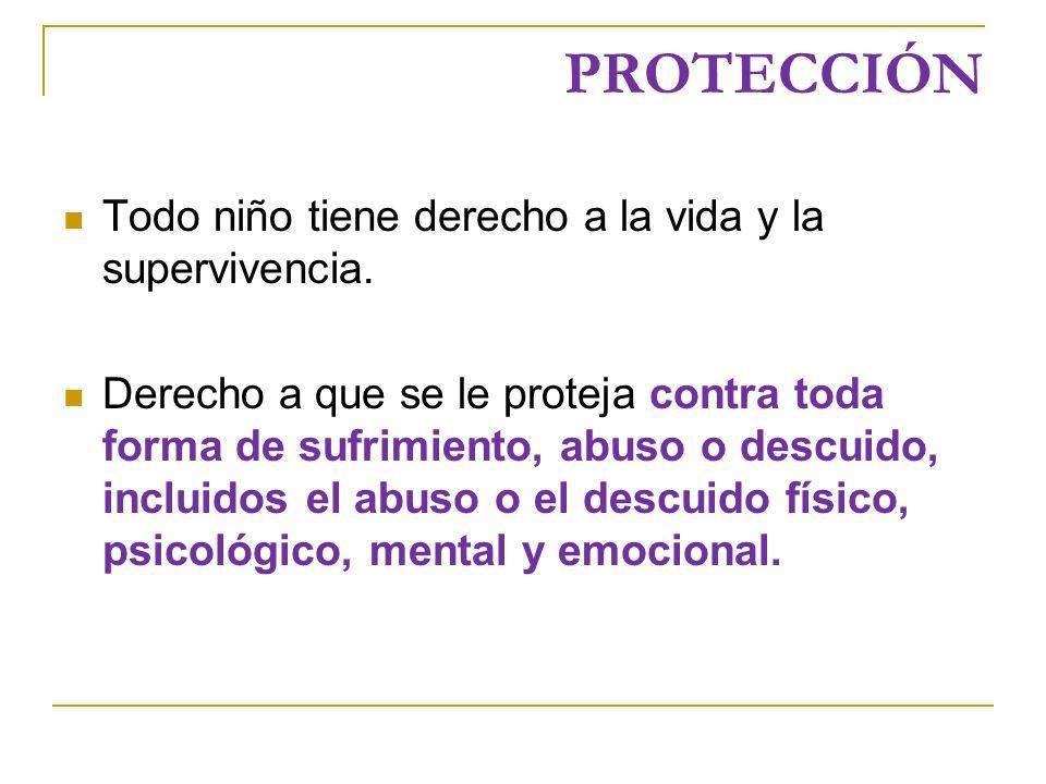 PROTECCIÓN Todo niño tiene derecho a la vida y la supervivencia.