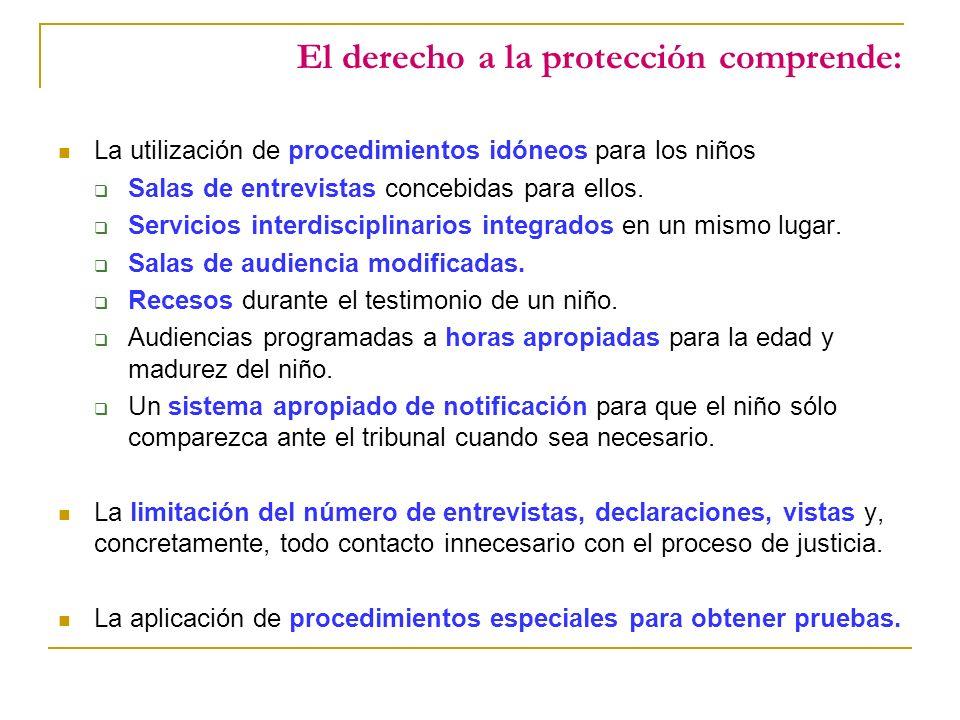 El derecho a la protección comprende: La utilización de procedimientos idóneos para los niños Salas de entrevistas concebidas para ellos.