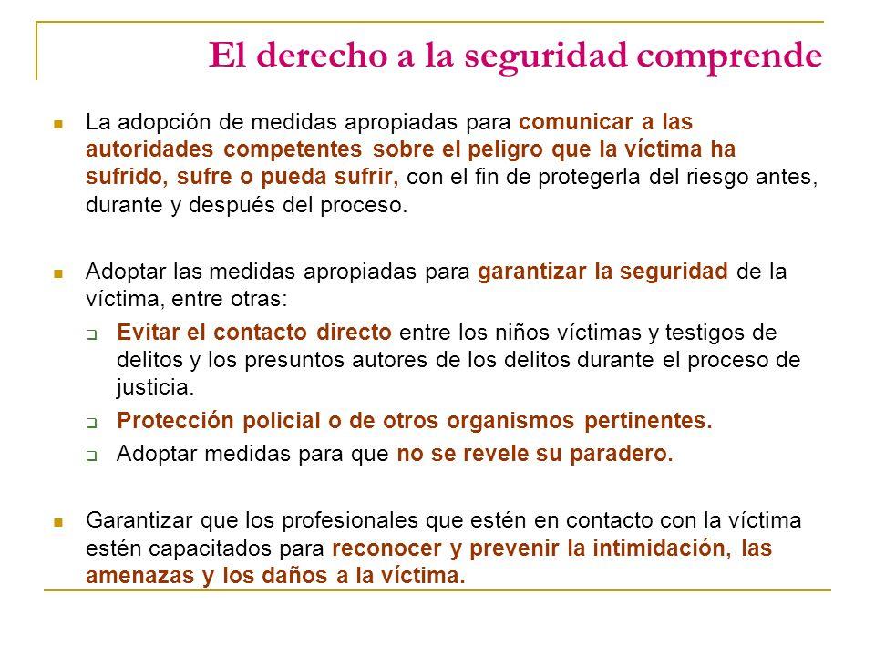 El derecho a la seguridad comprende La adopción de medidas apropiadas para comunicar a las autoridades competentes sobre el peligro que la víctima ha sufrido, sufre o pueda sufrir, con el fin de protegerla del riesgo antes, durante y después del proceso.
