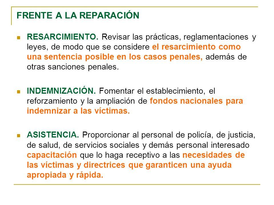 FRENTE A LA REPARACIÓN RESARCIMIENTO.