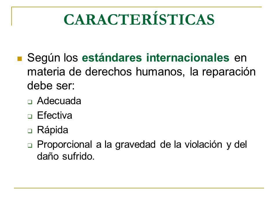 CARACTERÍSTICAS Según los estándares internacionales en materia de derechos humanos, la reparación debe ser: Adecuada Efectiva Rápida Proporcional a la gravedad de la violación y del daño sufrido.