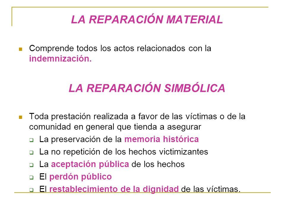 LA REPARACIÓN MATERIAL Comprende todos los actos relacionados con la indemnización.