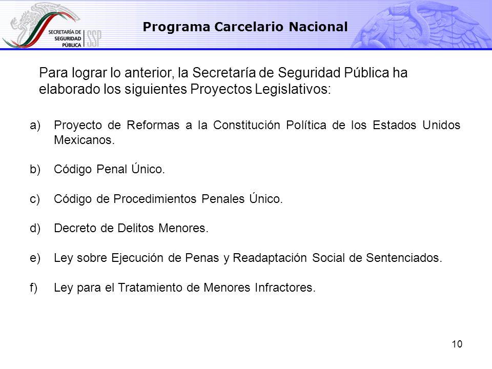 10 a)Proyecto de Reformas a la Constitución Política de los Estados Unidos Mexicanos. b)Código Penal Único. c)Código de Procedimientos Penales Único.