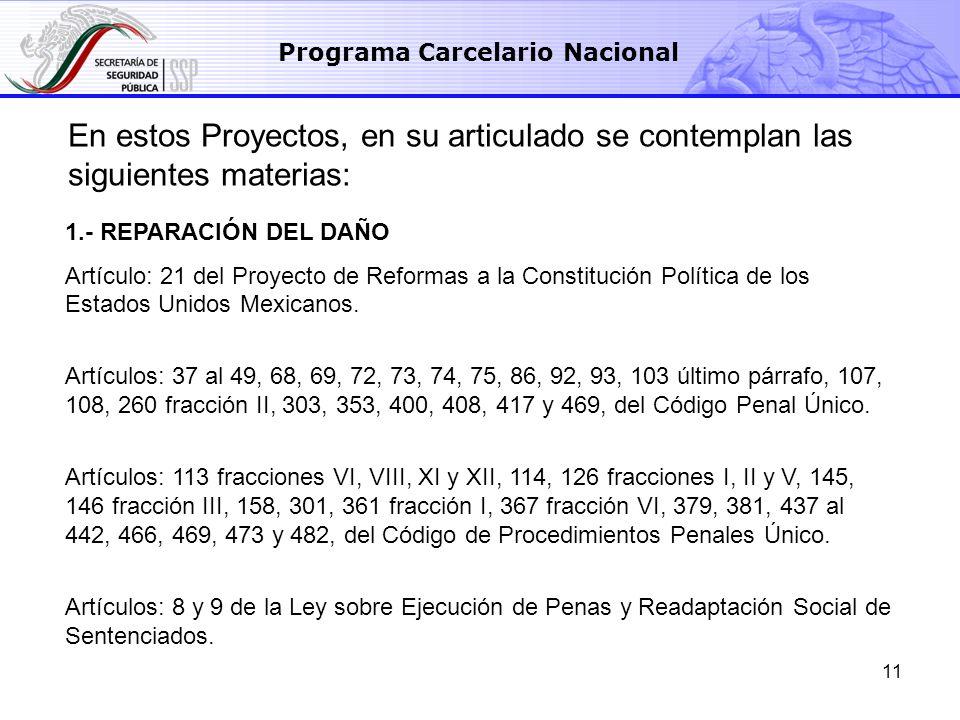 11 Programa Carcelario Nacional 1.- REPARACIÓN DEL DAÑO Artículo: 21 del Proyecto de Reformas a la Constitución Política de los Estados Unidos Mexican