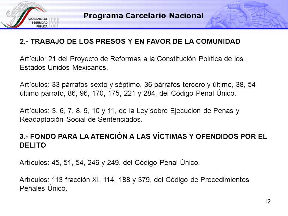 12 Programa Carcelario Nacional 2.- TRABAJO DE LOS PRESOS Y EN FAVOR DE LA COMUNIDAD Artículo: 21 del Proyecto de Reformas a la Constitución Política