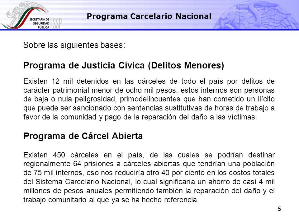 5 Programa de Justicia Cívica (Delitos Menores) Existen 12 mil detenidos en las cárceles de todo el país por delitos de carácter patrimonial menor de