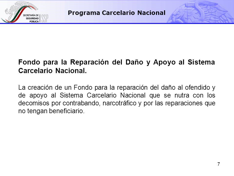 7 Fondo para la Reparación del Daño y Apoyo al Sistema Carcelario Nacional. La creación de un Fondo para la reparación del daño al ofendido y de apoyo