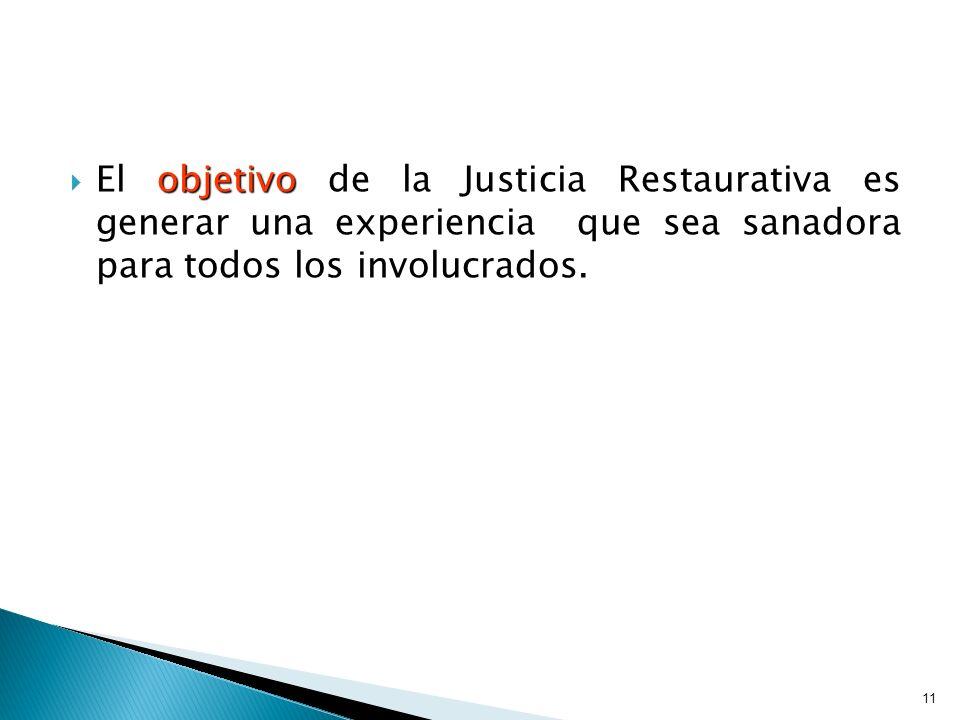 El objetivo de la Justicia Restaurativa es generar una experiencia que sea sanadora para todos los involucrados. El objetivo de la Justicia Restaurati