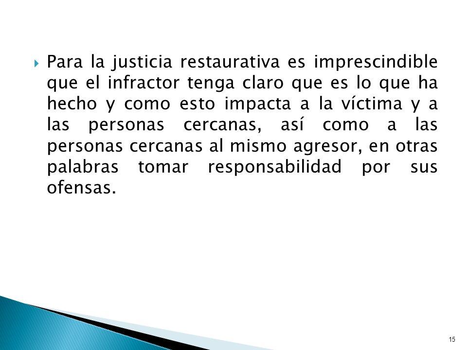Para la justicia restaurativa es imprescindible que el infractor tenga claro que es lo que ha hecho y como esto impacta a la víctima y a las personas