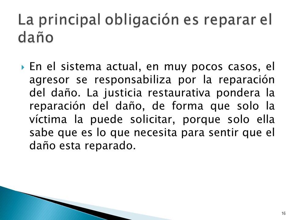 En el sistema actual, en muy pocos casos, el agresor se responsabiliza por la reparación del daño. La justicia restaurativa pondera la reparación del