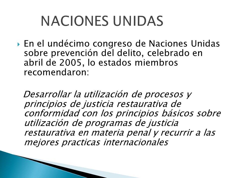En el undécimo congreso de Naciones Unidas sobre prevención del delito, celebrado en abril de 2005, lo estados miembros recomendaron: Desarrollar la u