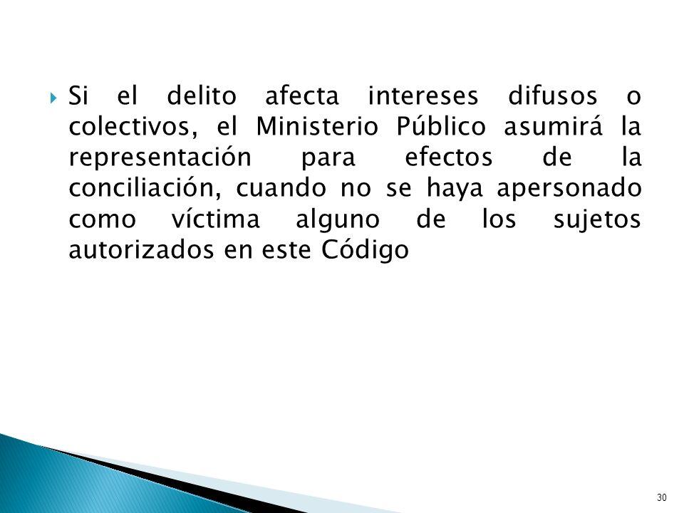 Si el delito afecta intereses difusos o colectivos, el Ministerio Público asumirá la representación para efectos de la conciliación, cuando no se haya