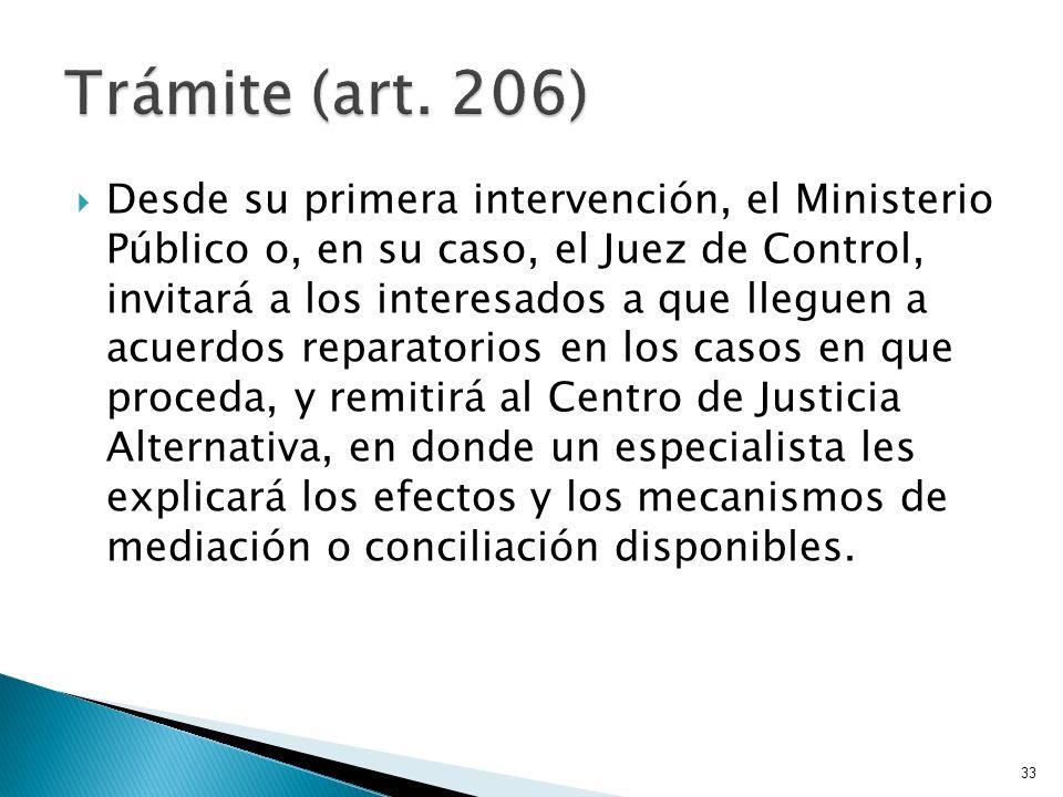 Desde su primera intervención, el Ministerio Público o, en su caso, el Juez de Control, invitará a los interesados a que lleguen a acuerdos reparatori