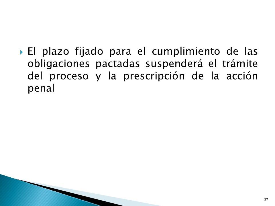 El plazo fijado para el cumplimiento de las obligaciones pactadas suspenderá el trámite del proceso y la prescripción de la acción penal 37