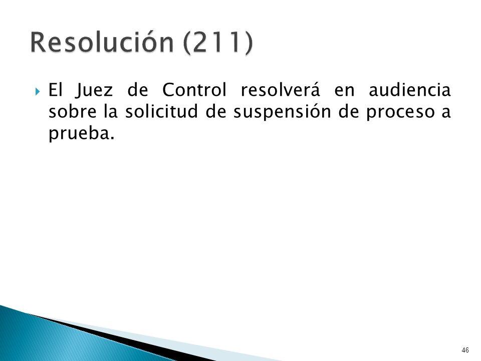 El Juez de Control resolverá en audiencia sobre la solicitud de suspensión de proceso a prueba. 46