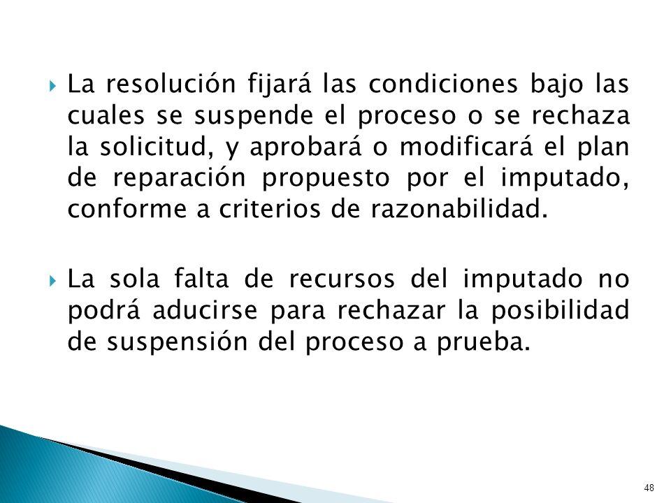 La resolución fijará las condiciones bajo las cuales se suspende el proceso o se rechaza la solicitud, y aprobará o modificará el plan de reparación p