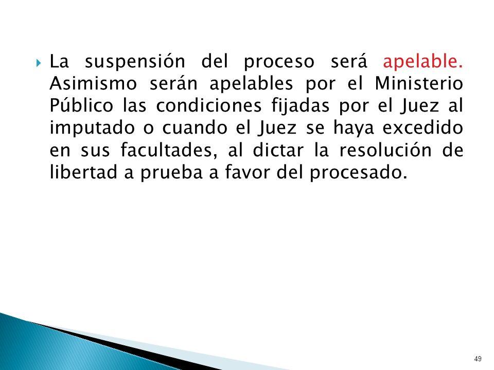 La suspensión del proceso será apelable. Asimismo serán apelables por el Ministerio Público las condiciones fijadas por el Juez al imputado o cuando e