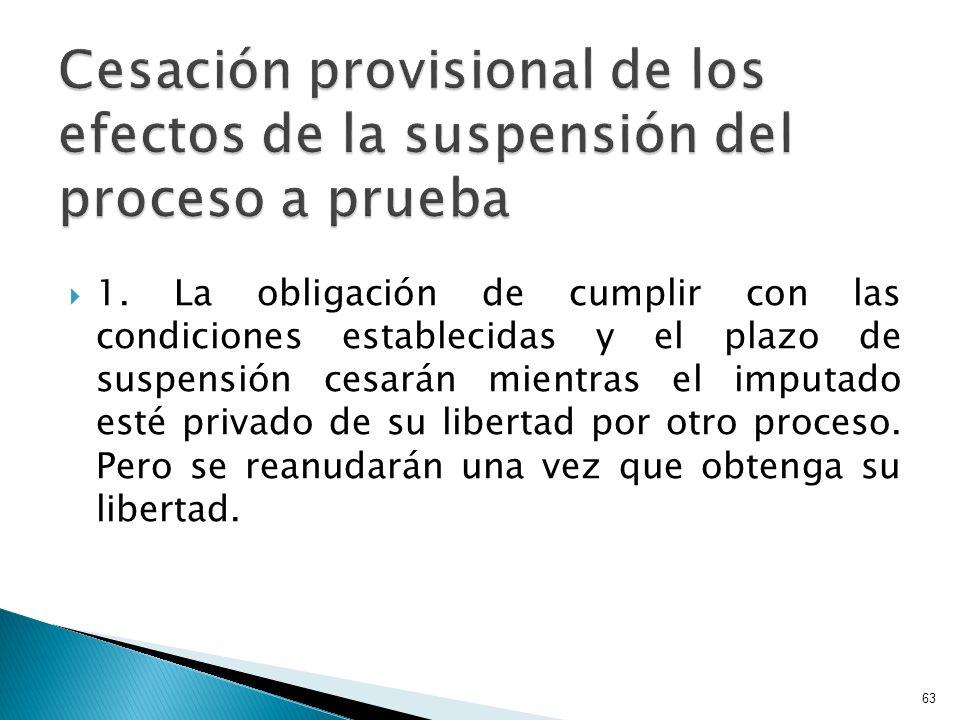 1. La obligación de cumplir con las condiciones establecidas y el plazo de suspensión cesarán mientras el imputado esté privado de su libertad por otr