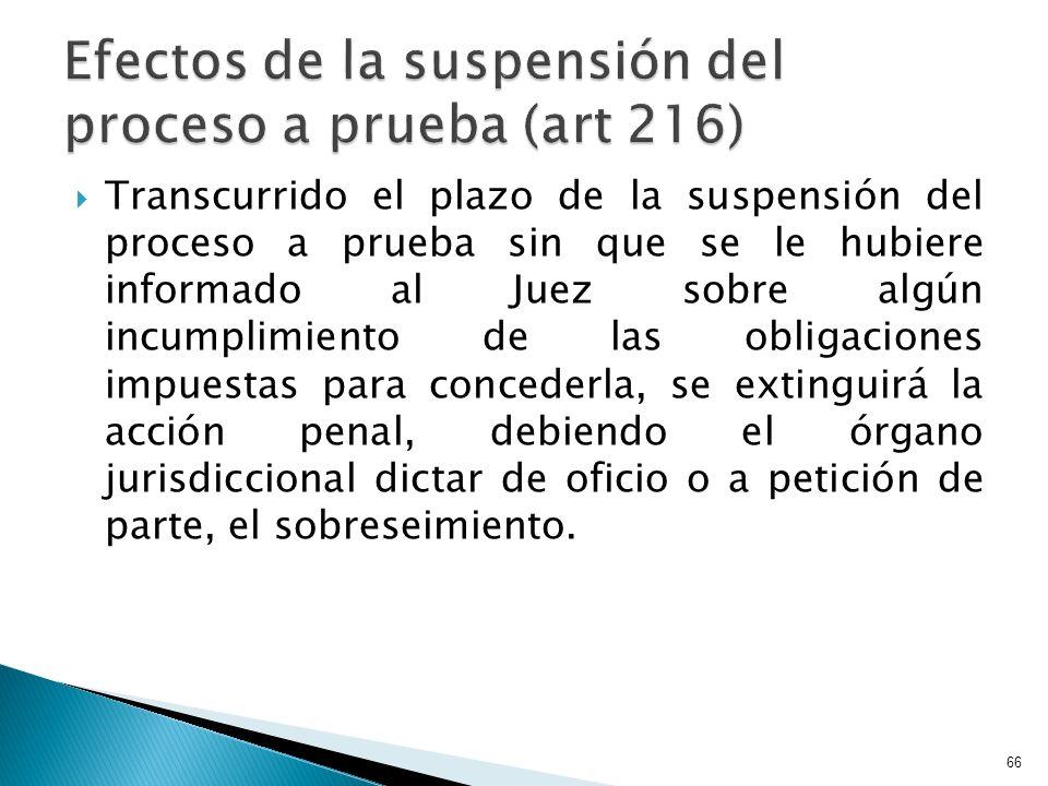 Transcurrido el plazo de la suspensión del proceso a prueba sin que se le hubiere informado al Juez sobre algún incumplimiento de las obligaciones imp