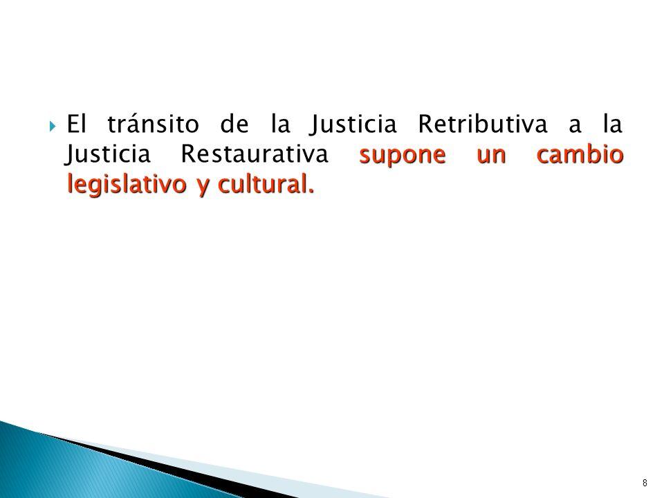 El tránsito de la Justicia Retributiva a la Justicia Restaurativa supone un cambio legislativo y cultural. El tránsito de la Justicia Retributiva a la