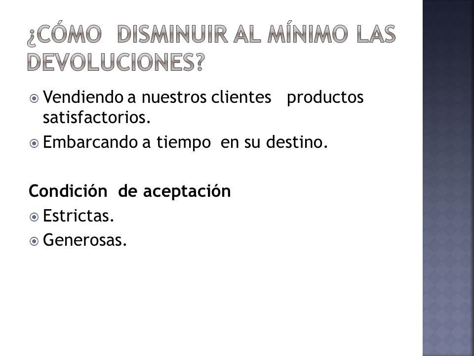 Vendiendo a nuestros clientes productos satisfactorios. Embarcando a tiempo en su destino. Condición de aceptación Estrictas. Generosas.
