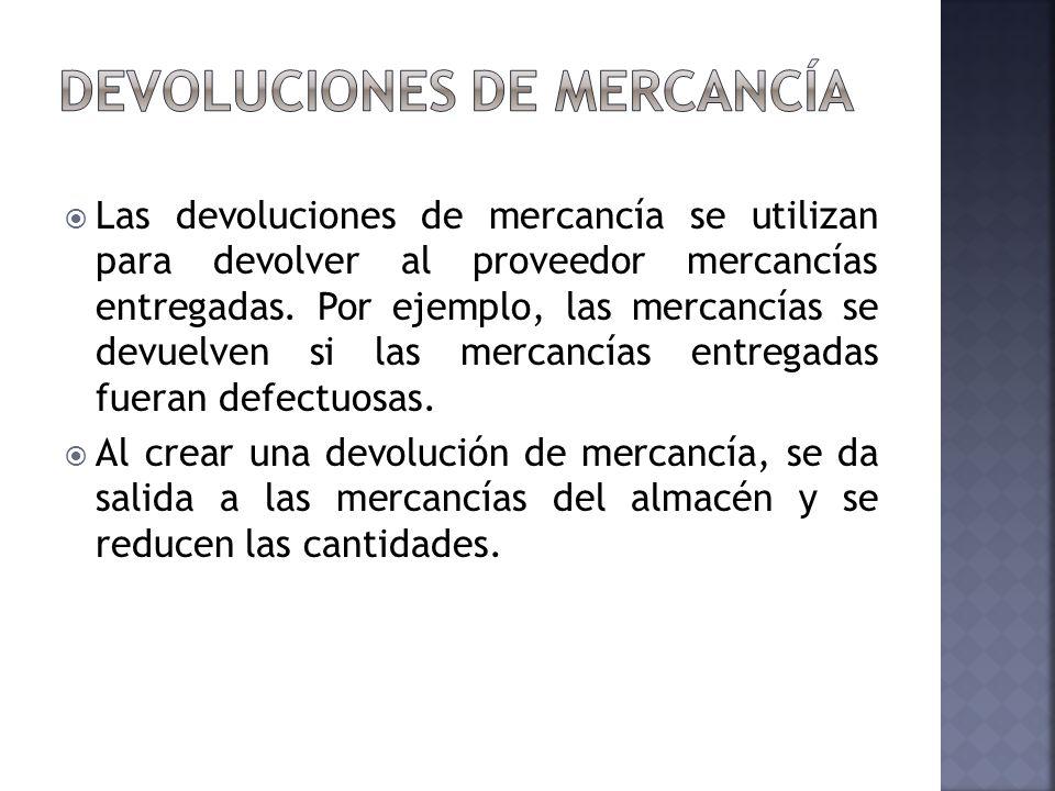 Las devoluciones de mercancía se utilizan para devolver al proveedor mercancías entregadas. Por ejemplo, las mercancías se devuelven si las mercancías
