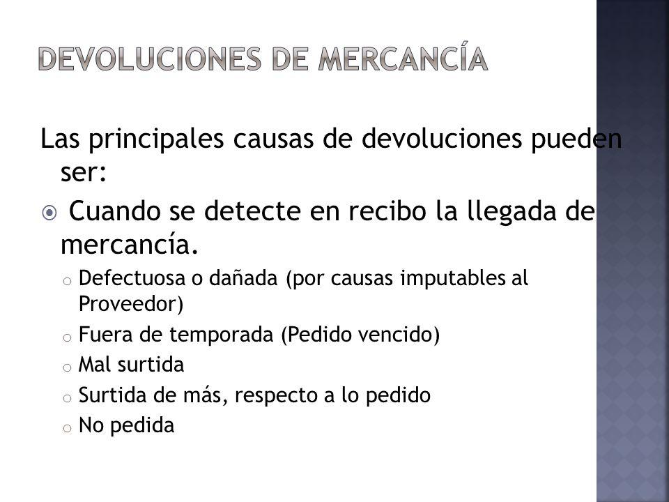 Las principales causas de devoluciones pueden ser: Cuando se detecte en recibo la llegada de mercancía. o Defectuosa o dañada (por causas imputables a
