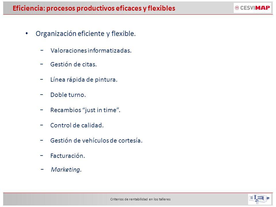 Organización eficiente y flexible. Criterios de rentabilidad en los talleres Valoraciones informatizadas. Gestión de citas. Línea rápida de pintura. D