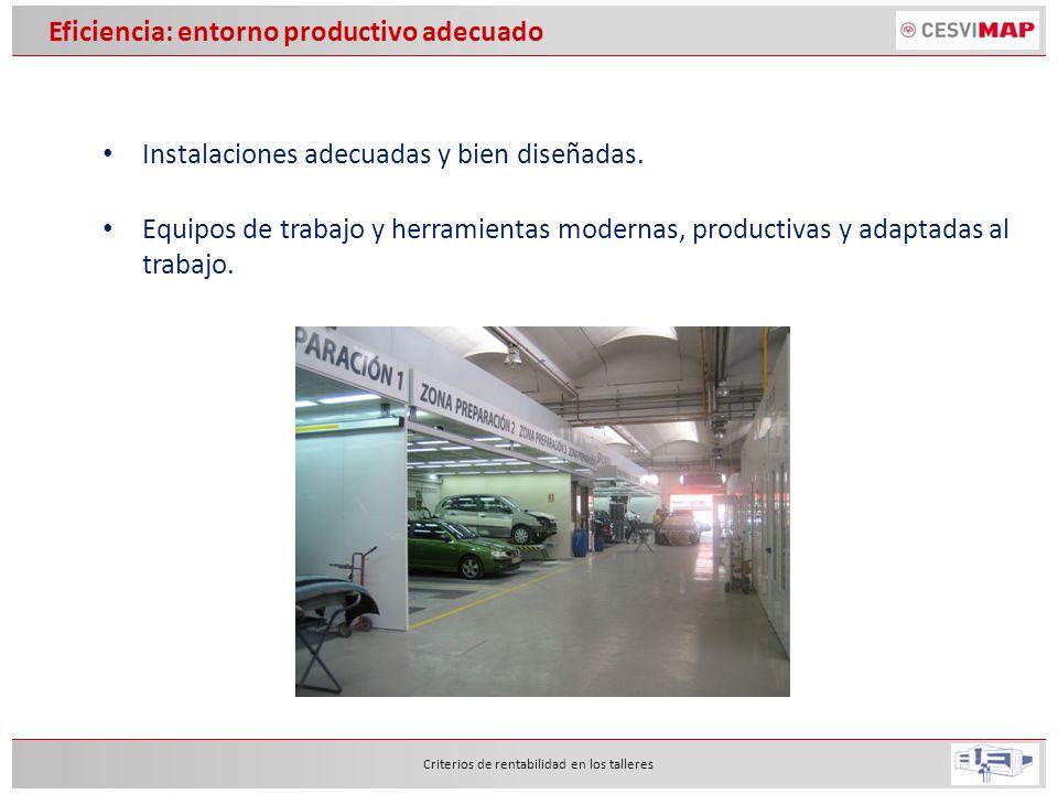 Eficiencia: entorno productivo adecuado Instalaciones adecuadas y bien diseñadas. Criterios de rentabilidad en los talleres Equipos de trabajo y herra