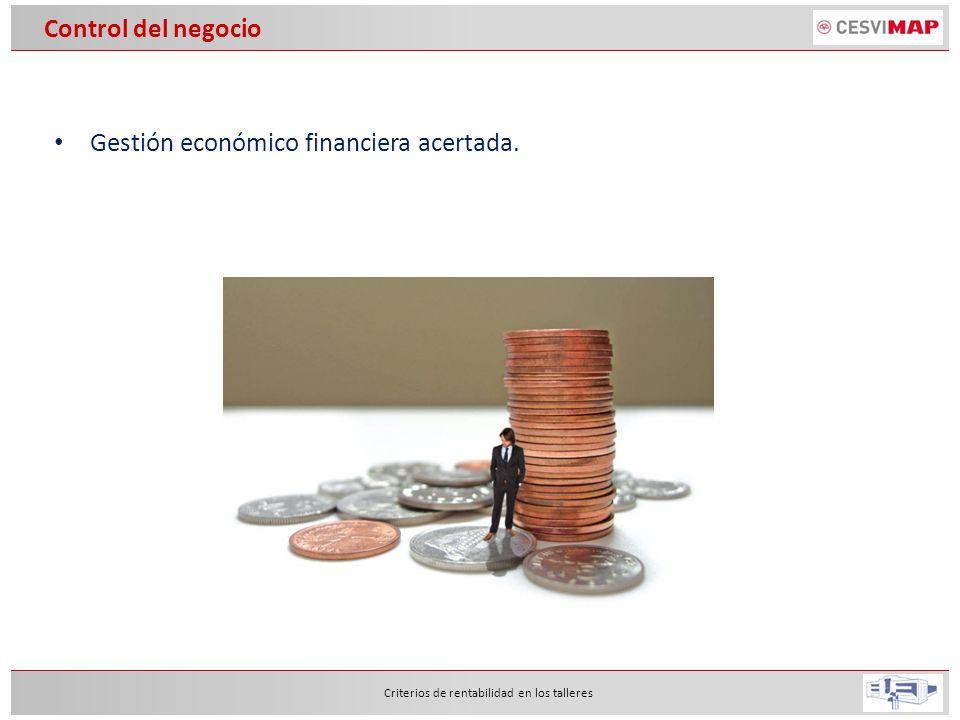 Gestión económico financiera acertada. Criterios de rentabilidad en los talleres Control del negocio