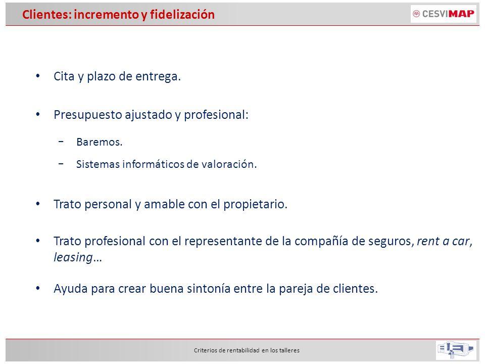 Eficiencia Criterios de rentabilidad en los talleres Horas disponibles (100%) Horas presencia (>95%) Horas ausencia (<5%) Horas productivas (>85%) Horas improductivas (<10%) Permisos Enfermedad Formación Horas recuperables (-) Horas no recuperables (+) Horas facturadas (>100%) Horas invertidas Chapa (~34%) Paro Trabajos repetidos Garantías de taller Mantenimiento Organización Taller Reuniones Limpieza vehículo Horas invertidas pintura (~47%) Horas invertidas mecánica (~4%)