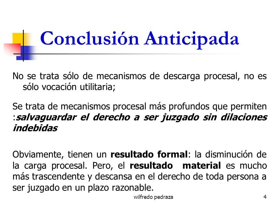 wilfredo pedraza Conclusión Anticipada No se trata sólo de mecanismos de descarga procesal, no es sólo vocación utilitaria; Se trata de mecanismos pro