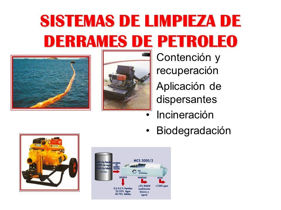 SISTEMAS DE LIMPIEZA DE DERRAMES DE PETROLEO Contención y recuperación Aplicación de dispersantes Incineración Biodegradación