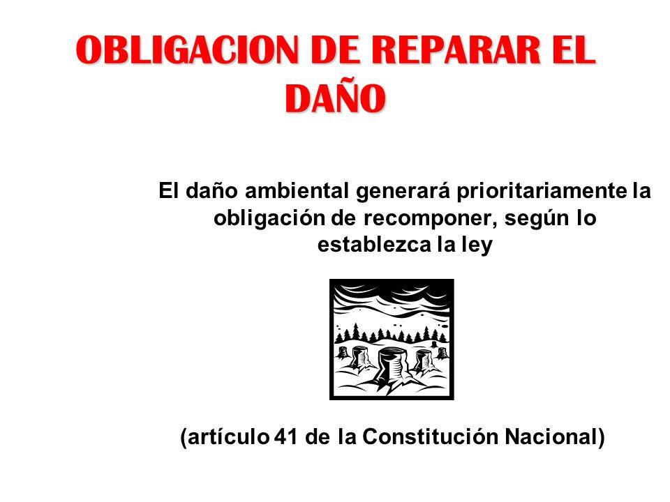 OBLIGACION DE REPARAR EL DAÑO El daño ambiental generará prioritariamente la obligación de recomponer, según lo establezca la ley (artículo 41 de la C