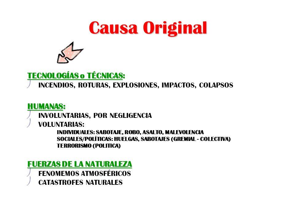 Causa Original TECNOLOGÍAS o TÉCNICAS: ø INCENDIOS, ROTURAS, EXPLOSIONES, IMPACTOS, COLAPSOS HUMANAS: ø INVOLUNTARIAS, POR NEGLIGENCIA ø VOLUNTARIAS:
