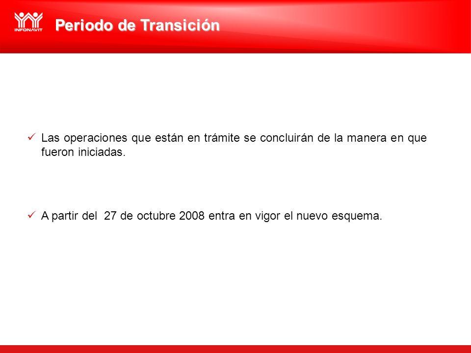 Periodo de Transición Las operaciones que están en trámite se concluirán de la manera en que fueron iniciadas. A partir del 27 de octubre 2008 entra e